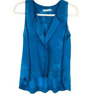 Alice + Olivia Blue Tie Dye Flowy Silk Tank Top